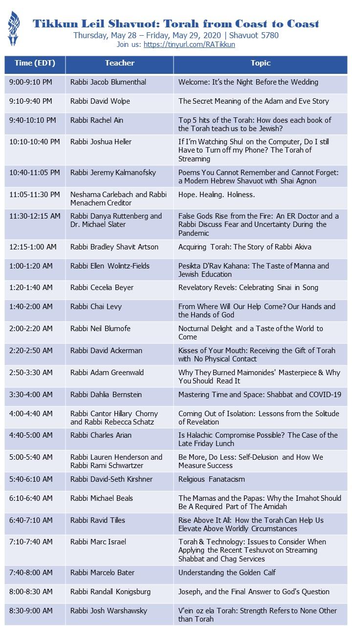 Schedule for Tikkun Leil Shavuot