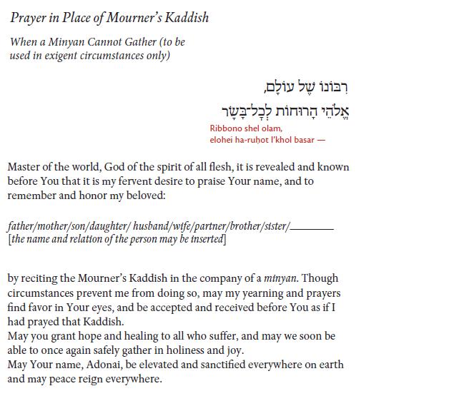 mourners kaddish